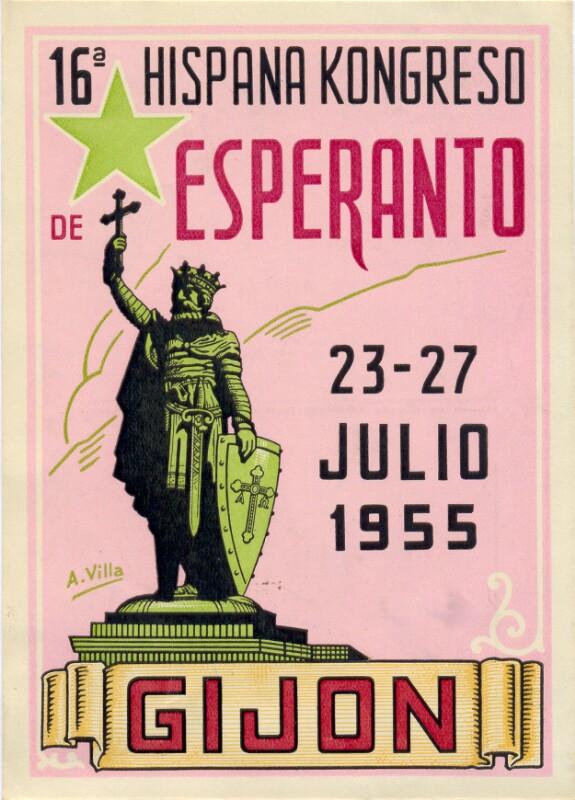 Ansichtskarte: 16a Hispana Kongreso de Esperanto, 23.-27. julio 1955, Gijon