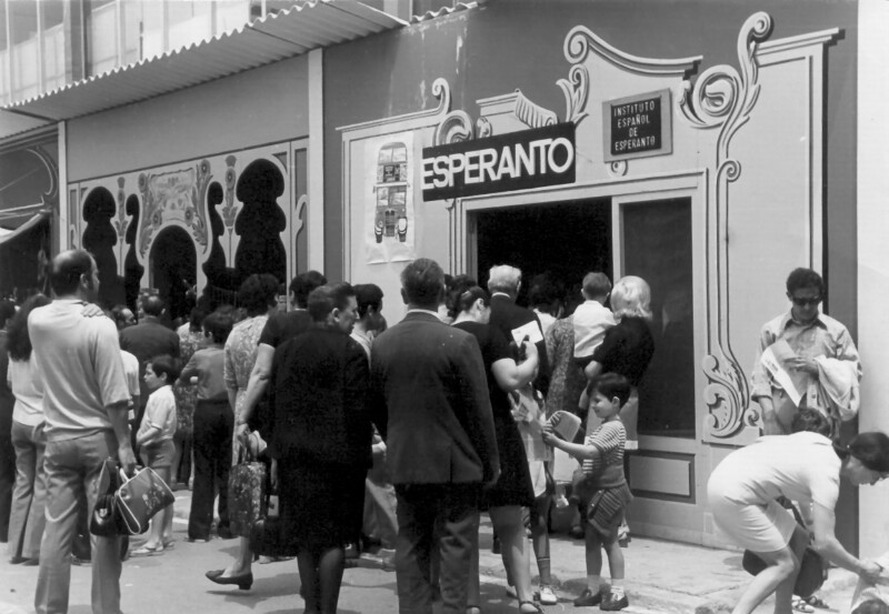 Esperanto-Stand auf der Internationalen Messe, Barcelona 1971