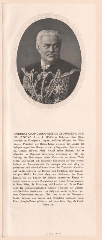 Csekonics von Zsombolya und Janova, Andreas Graf