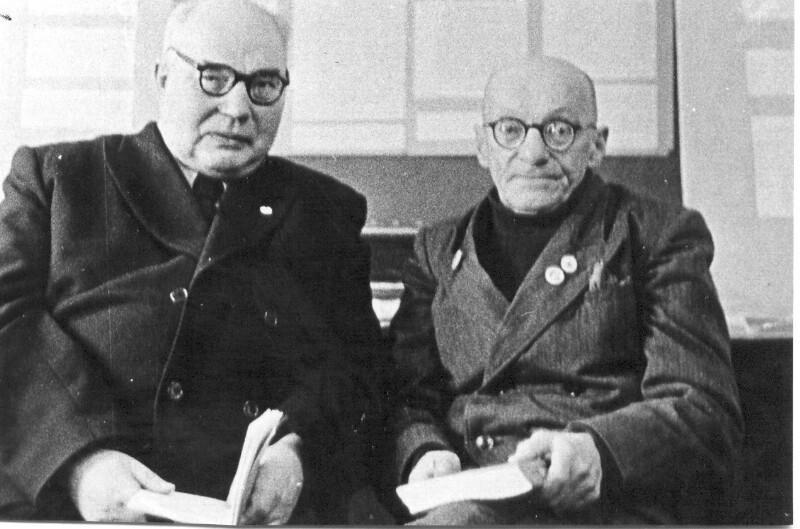Vsevolod Nikolaevič Basov und der Schriftsteller Georgo Deškin, Mičurinsk 1959