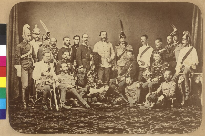 Gruppenbild Foto Dragonerregiment Prinz Eugen von Savoyen Nr. 13, Stab der 1. leichten Kavallerie-Division 1866