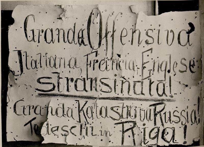 Tafel am Freikofel anlässlich des Sieges der Deutschen bei Riga.