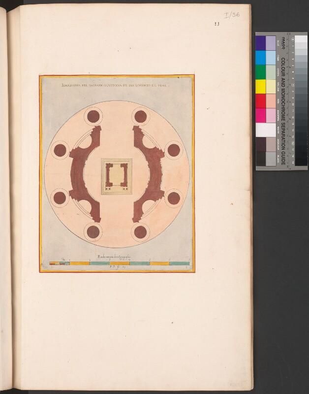Plan des Chorraums und des Tabernakels in der Kirche des Escorial