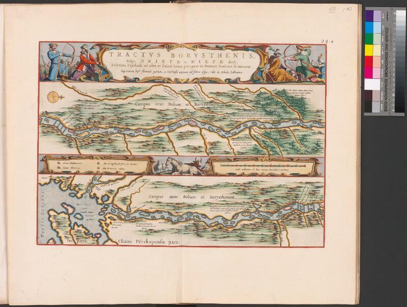 Landkarte des Dnepr von Tscherkassy zum Schwarzen Meer