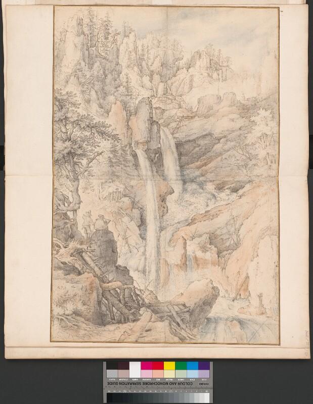 Ein Zeichner und sein Bergführer betrachten Wasserfälle