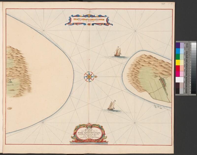 Karte des Eierlandse Gats und Teilen der angrenzenden Inseln Texel und Vlieland
