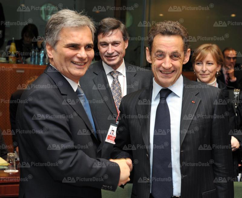 Brüssel - EU Gipfel - Werner Faymann, Michael Spindelegger, Nicolas Sarkozy