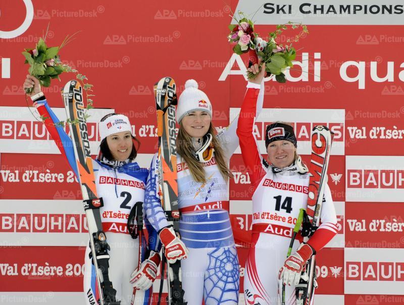 Alpine Skiweltmeisterschaft 2009 - Val d'Isere - Damen Super G - Siegerbild
