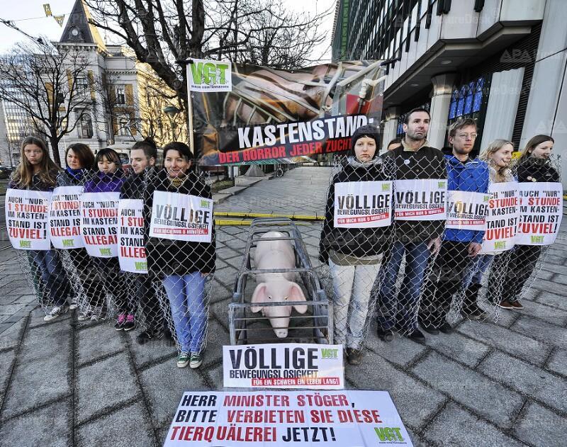 Aktion des Vereins gegen Tierfabriken