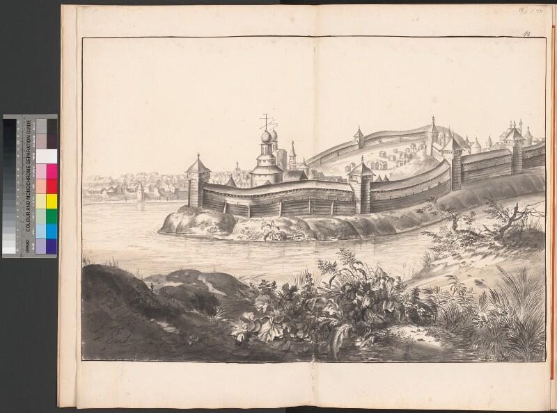 Die Festung Torschok mit der Stadt im Hintergrund
