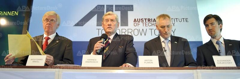 Wolfgang Knoll, Hannes Androsch, Anton Plimon und Alexander Svejkovsky