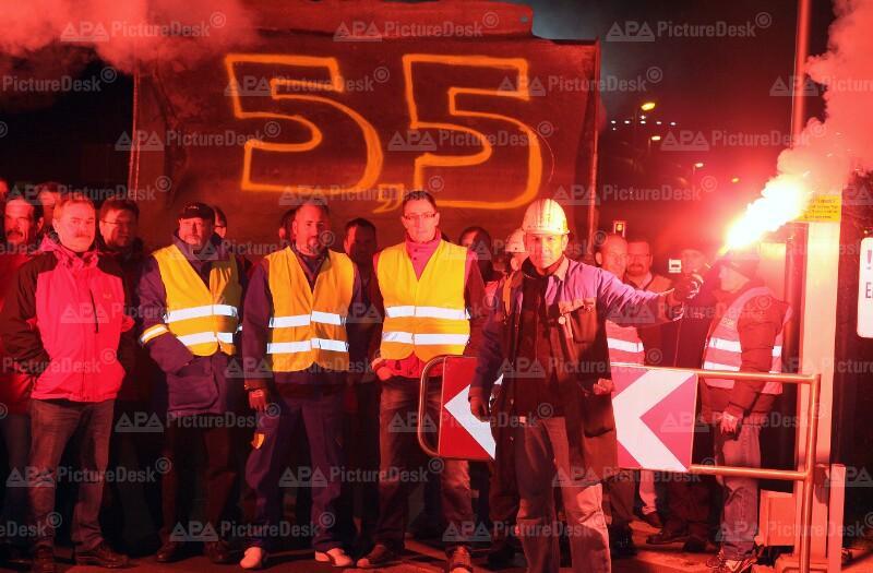 Streik der Metallarbeiter der Voestalpine AG in Linz