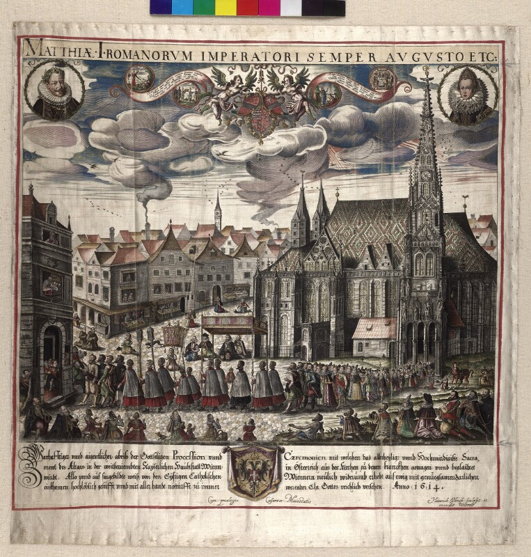 Prozession vor dem Stephansdom in Wien im Jahre 1614
