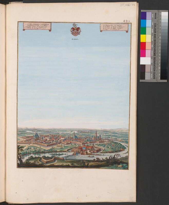 Ansicht von Hanau aus der Vogelschau