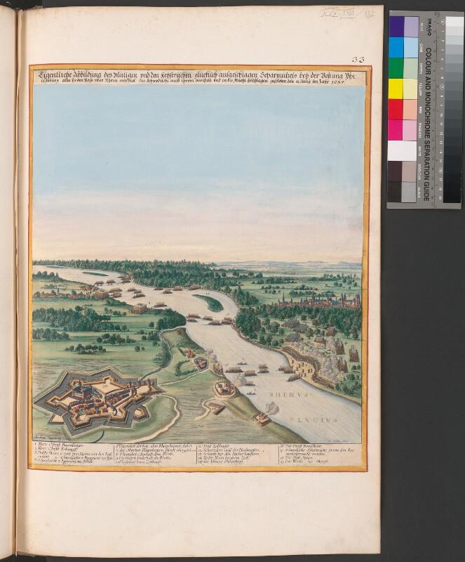 Vogelschauansicht von der Schlacht um Philippsburg
