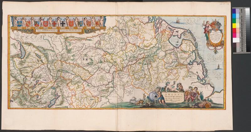 Landkarte des Rhein mit seinen Nebenflüssen