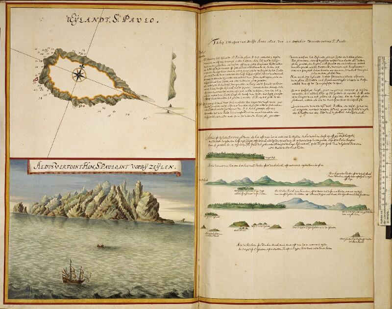 Landkarte, Ansicht und Beschreibung der Insel St. Paul und Küstenprofil der Insel Dromo