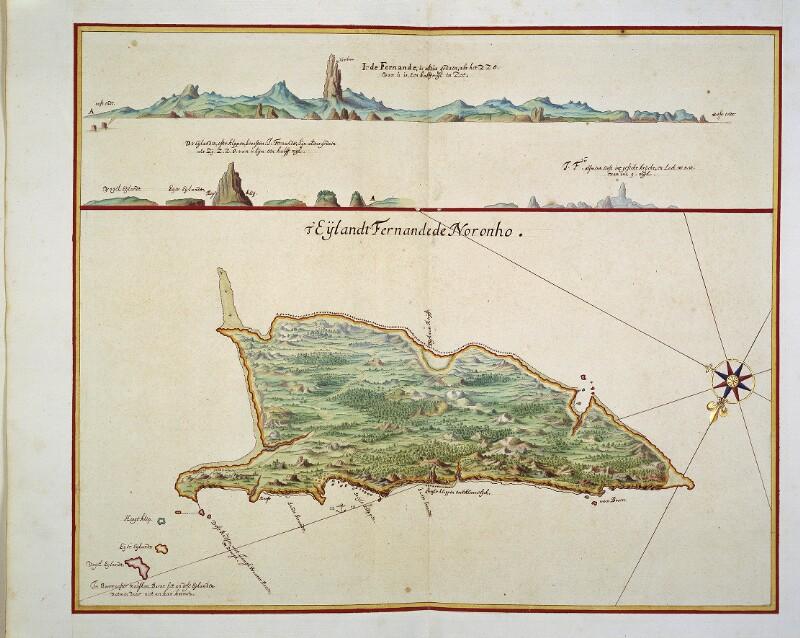 Landkarte und Küstenansicht von Fernando de Noronha