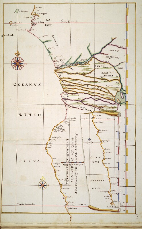 Landkarte des südlichen Bereichs der afrikanischen Westküste