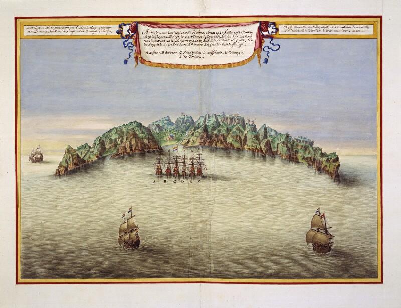 Vogelschauansicht von St. Helena mit der Holländischen Flotte