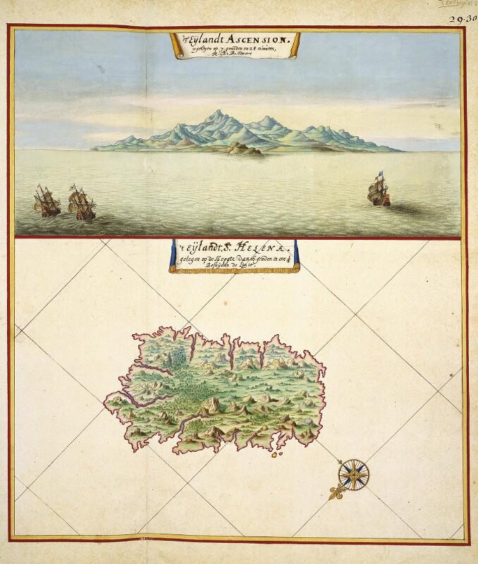 Ansicht von Ascension und Landkarte von St. Helena