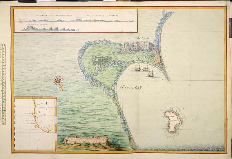 Landkarte der Tafelbucht mit Küstenprofil