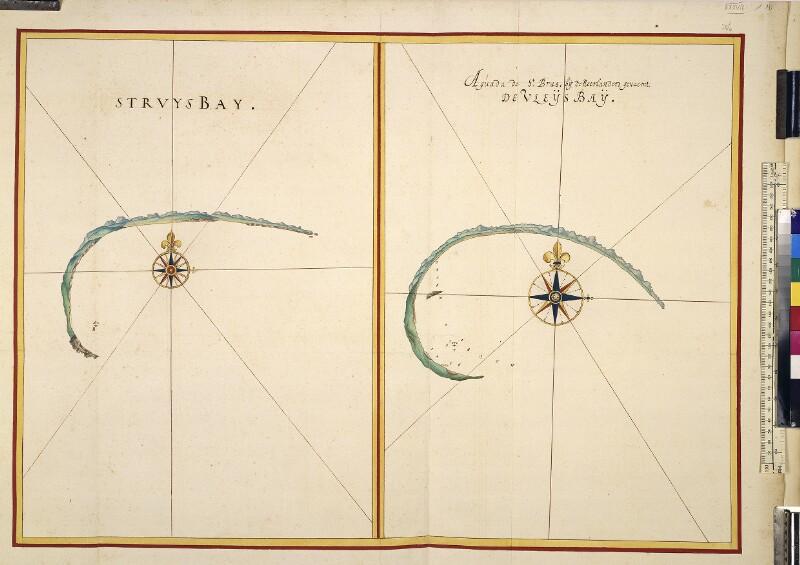 Landkarte (Seekarte) und Küstenprofile von Struisbaai und Vleesbaai