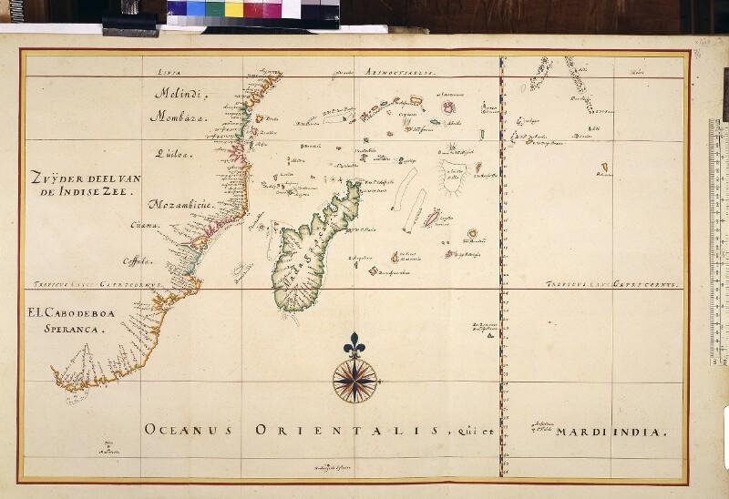 Landkarte (Seekarte) des südwestlichen Teils des Indischen Ozeans