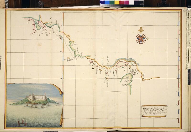Karte der Nordküste des Persischen Golfs und Blick auf das Fort Queshm