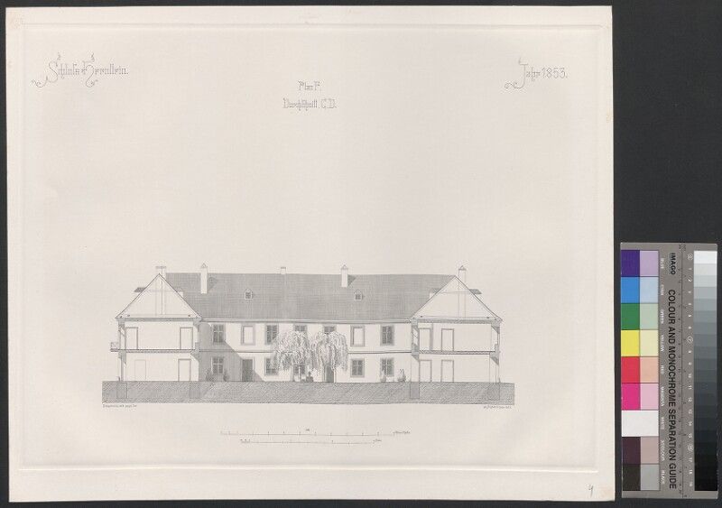 Schloss Hernstein. Jahr 1853. Plan F, Durchschnitt, C, D