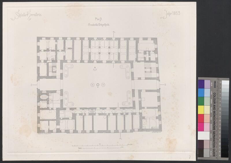 Schloss Hernstein. Jahr 1853. Plan B, Grundriss, Erdgeschoss
