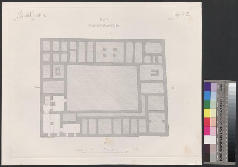 Schloss Hernstein. Jahr 1853. Plan A, Grundriss, Fundament, Keller