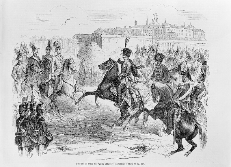 Parade auf dem Glacis anlässlich des Besuchs Kaiser Nikolaus I. von Russland