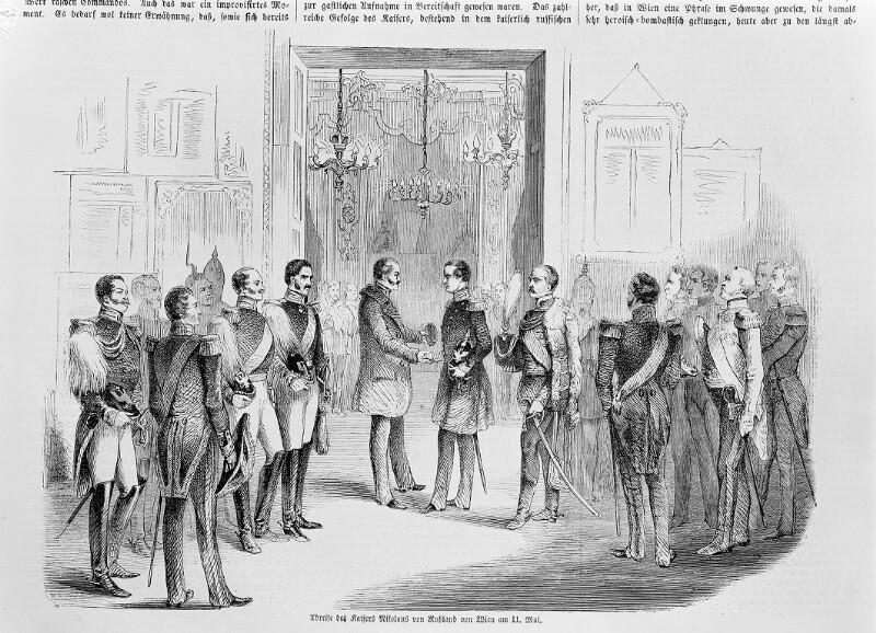 Abschied von Kaiser Nikolaus I. von Russland (in Zivil) von Kaiser Franz Joseph