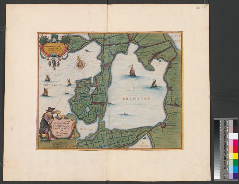 Landkarte vom See Beemster vor der Neulandgewinnung