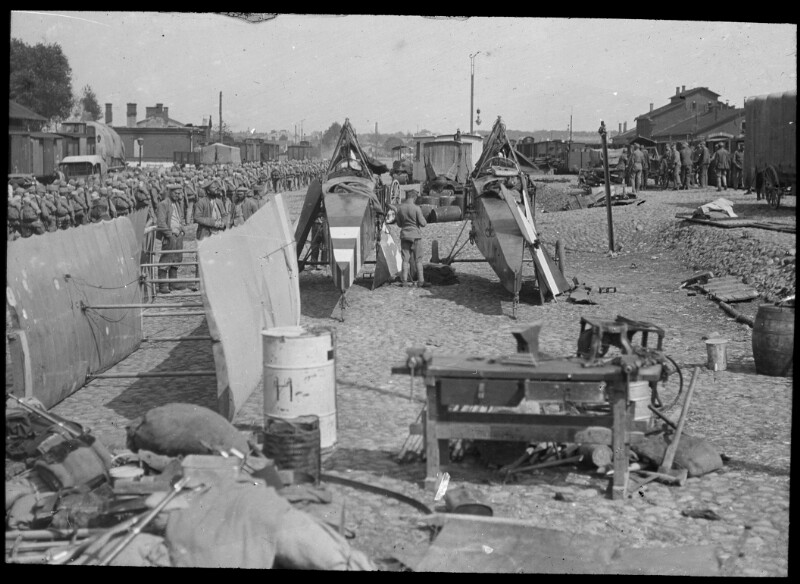 Auswaggonieren der zehnten Fliegerkompanie in Lublin, 1916