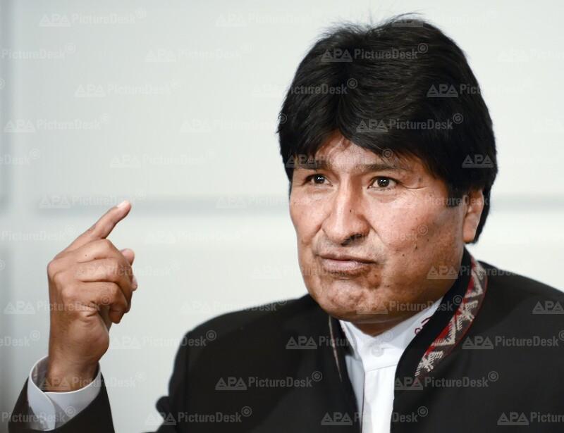 Boliviens Präsident Morales gibt Pressekonferenz in Wien
