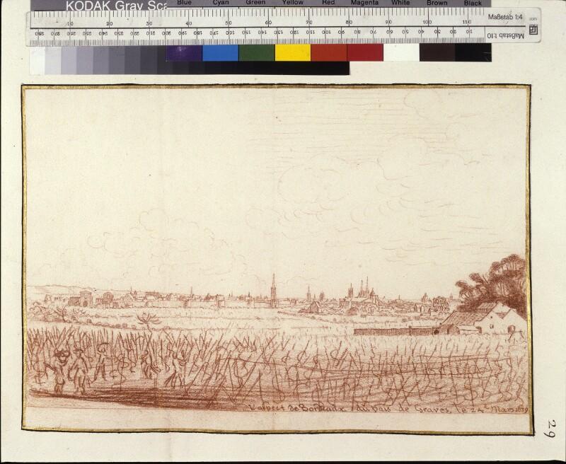 Ansicht von Bordeaux über die Felder hinweg