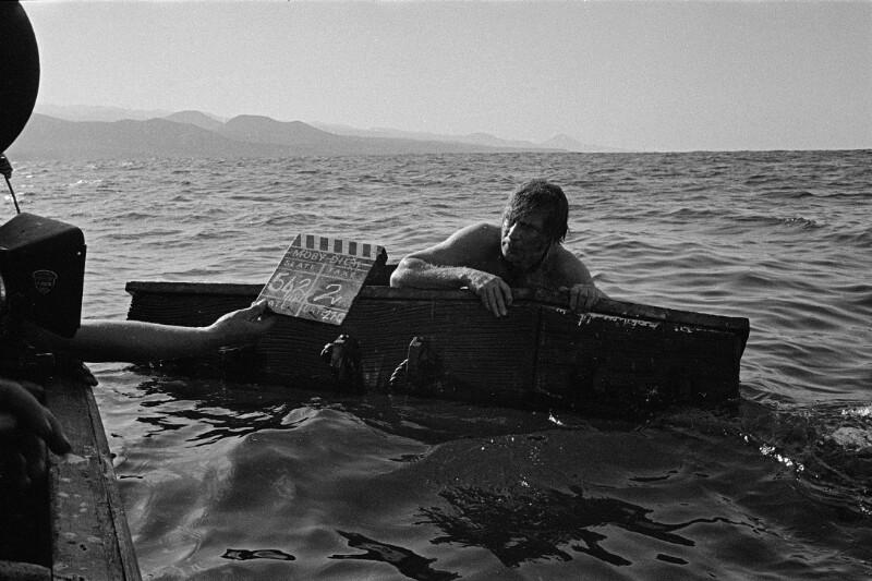 """Während der Dreharbeiten zu John Hustons """"Moby Dick"""" auf den Kanarischen Inseln"""