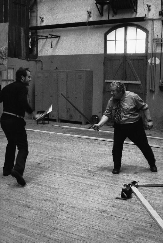 """Peter Ustinov probt """"Don Quichote"""" von Jules Massenet, Paris Opera, 1973"""