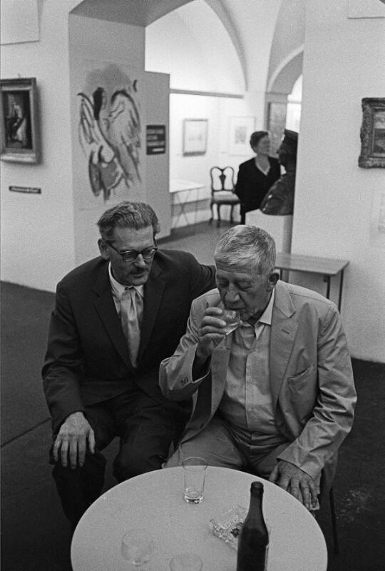 Oskar Kokoschka mit dem Kunsthändler Friedrich Welz, Salzburg, 1959