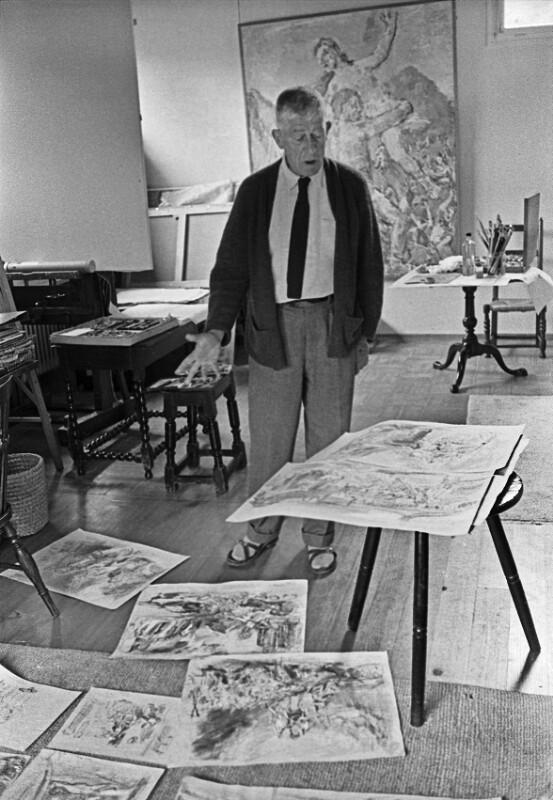 """Oskar Kokoschka in seinem Haus, der """"Villa Delphin"""" in Villeneuve, Schweiz, 1959"""