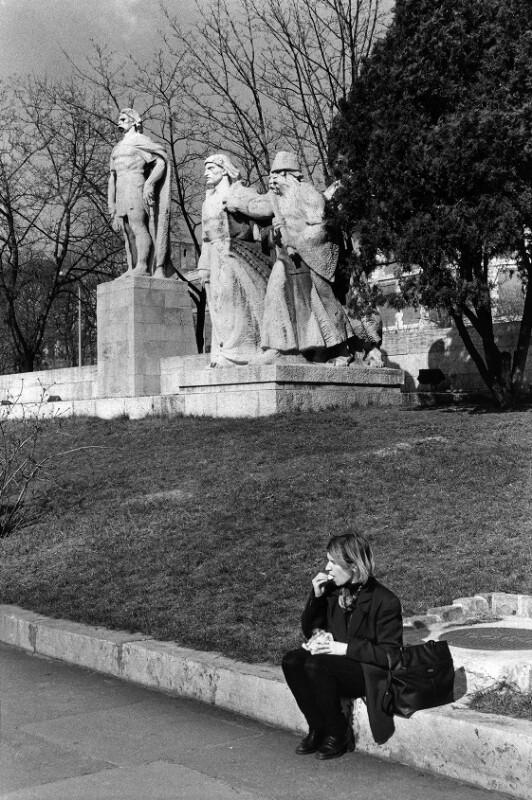 Das György Dosza- Denkmal von Ivan Kiss am Fuß des Burgberges, Budapest, 1998