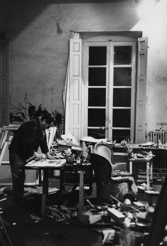 Der Maler Bernard Buffet in seinem Atelier, Paris, 1961