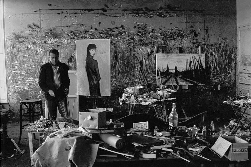 Maler Bernard Buffet und ein Portrait seiner Frau Annabel, Paris, 1961