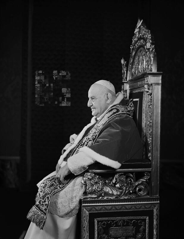 Papst Johannes XXIII. während einer Audienz in Castel Gandolfo