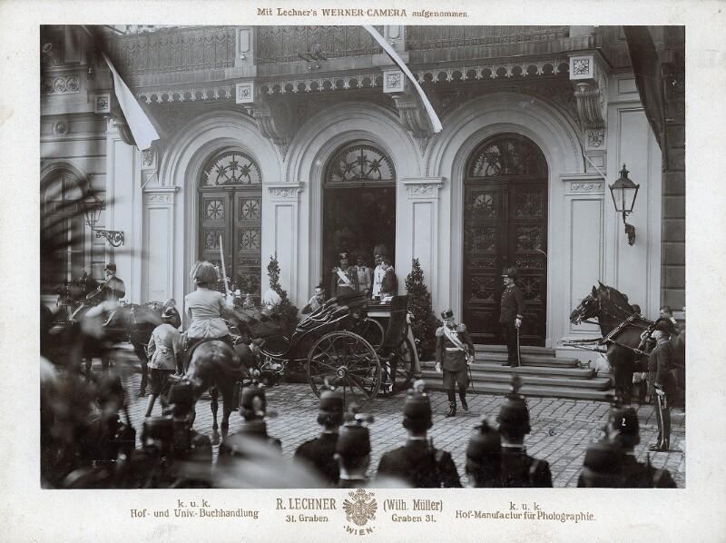 Empfang von Zar Nikolaus II. am Wiener Westbahnhof