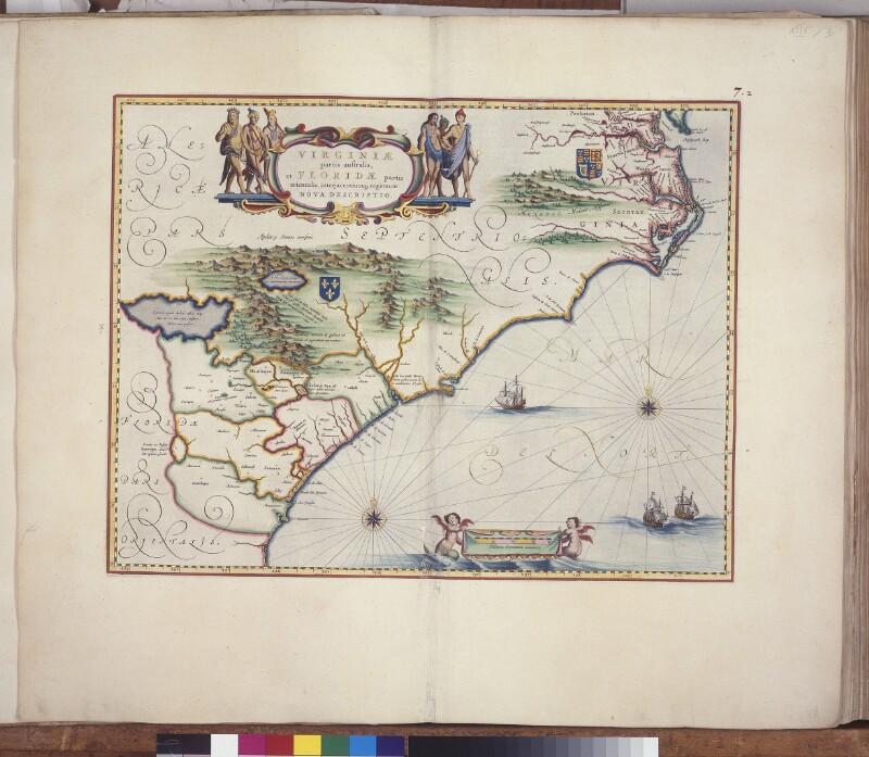 Landkarte von Amerikas Ostküste von Chesapeake Bay bis zum Savannah River