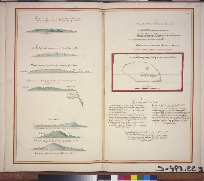 Küstenprofile von Moheli und Grande Comore sowie Landkarte und Küstenprofile des Cosmoledo Atolls