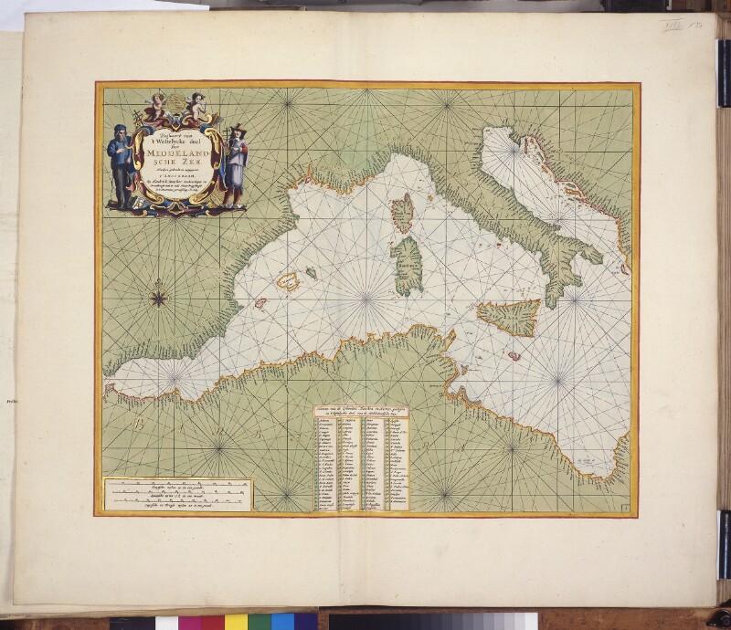 Landkarte (Seekarte) des westlichen Mittelmeers